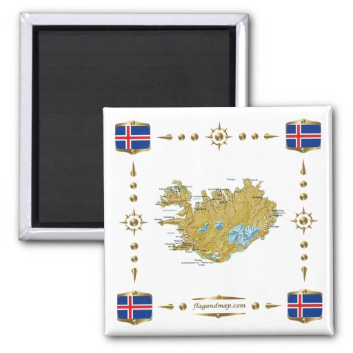 Iceland Map + Flags Magnet