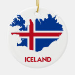 ICELAND MAP Double-Sided CERAMIC ROUND CHRISTMAS ORNAMENT