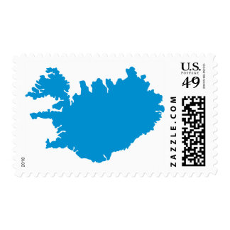 Iceland map postage stamps