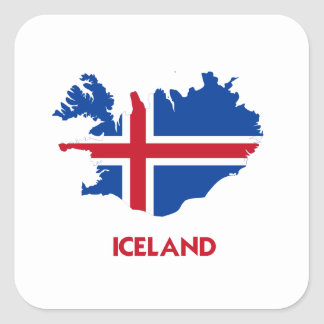 ICELAND MAP SQUARE STICKER