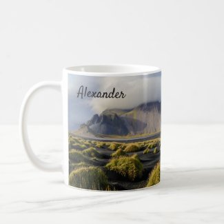 Iceland mug black sand beach travel photography