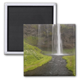 Iceland. People on trail behind Seljalandsfoss 2 Inch Square Magnet
