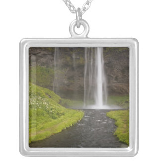 Iceland. People on trail behind Seljalandsfoss Square Pendant Necklace