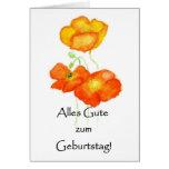 Iceland Poppies Birthday Card - German Greeting