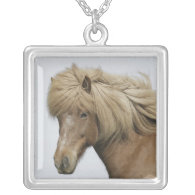 Iceland. Portrait of an Icelandic horse. Custom Necklace