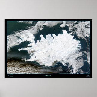Iceland satellite  poster map photo
