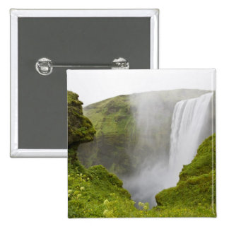 Iceland. Skogarfoss Waterfall plunges over a 2 Inch Square Button