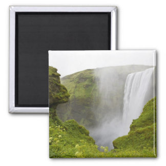 Iceland. Skogarfoss Waterfall plunges over a 2 Inch Square Magnet