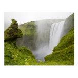 Iceland. Skogarfoss Waterfall plunges over a Post Card