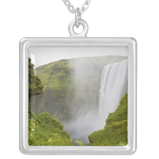 Iceland. Skogarfoss Waterfall plunges over a Square Pendant Necklace