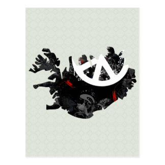 Iceland Trendy Peace Sign with Icelander map Postcard
