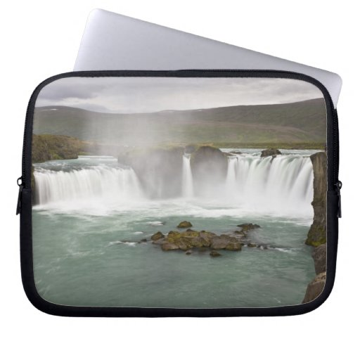 Iceland. View of Godafoss Falls on the Laptop Computer Sleeve