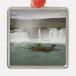 Iceland. View of Godafoss Falls on the Metal Ornament