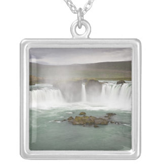 Iceland. View of Godafoss Falls on the Square Pendant Necklace