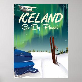 Iceland vintage plane travel poster