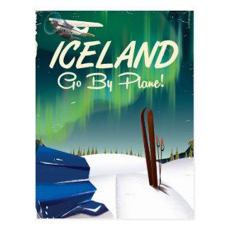 Iceland vintage plane travel poster postcard