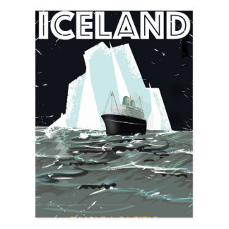 Iceland Vintage Poster Postcard