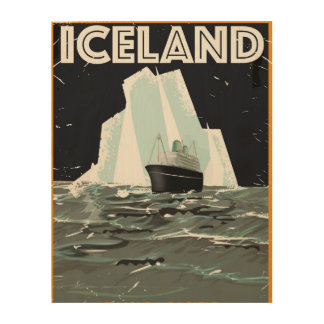 Iceland Vintage Poster Wood Wall Decor