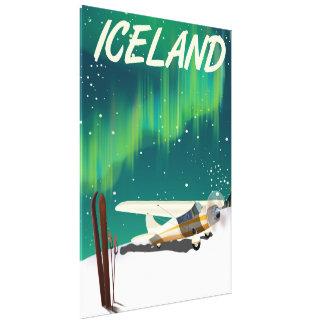 Iceland vintage style ski plane poster canvas print