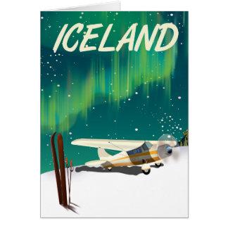 Iceland vintage style ski plane poster card