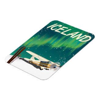 Iceland vintage style ski plane poster magnet