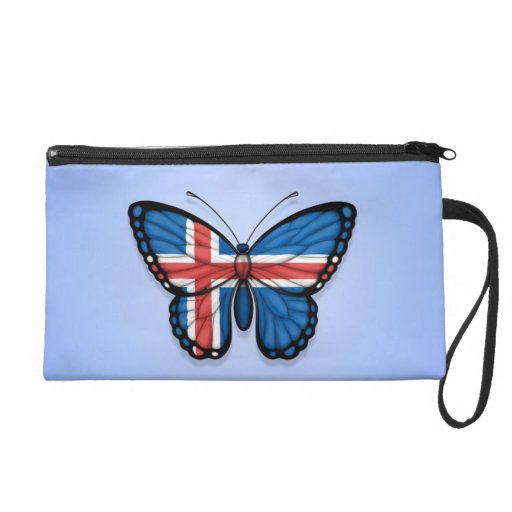 Icelandic Butterfly Flag on Blue Wristlet Purses