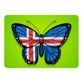 Icelandic Butterfly Flag on Green Card