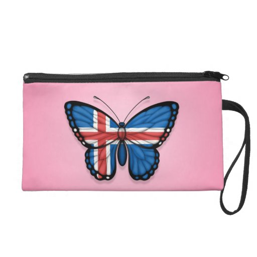 Icelandic Butterfly Flag on Pink Wristlet Clutches