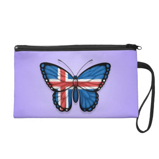 Icelandic Butterfly Flag on Purple Wristlet Clutches