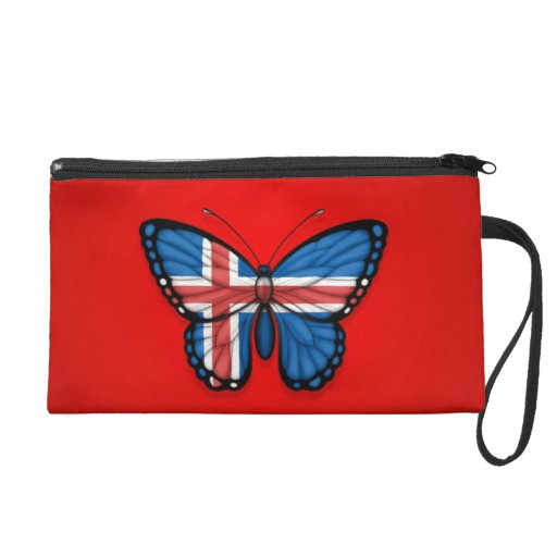 Icelandic Butterfly Flag on Red Wristlet Clutch