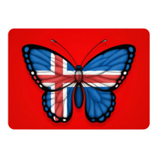"""Icelandic Butterfly Flag on Red 5"""" X 7"""" Invitation Card"""
