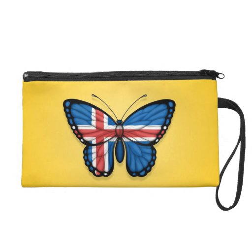 Icelandic Butterfly Flag on Yellow Wristlet Purse