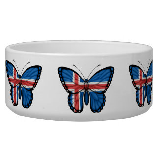 Icelandic Butterfly Flag Pet Food Bowl