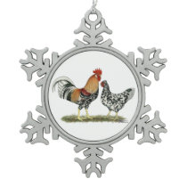 Icelandic Chickens Snowflake Pewter Christmas Ornament