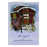 Icelandic Christmas Card - Horse And Old Caravan -