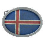 Icelandic Flag Aged Steel Effect Oval Belt Buckle