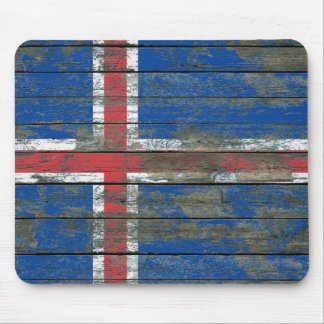 Icelandic Flag on Rough Wood Boards Effect Mouse Pad