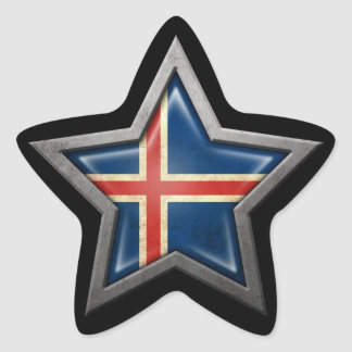 Icelandic Flag Star on Black Star Sticker