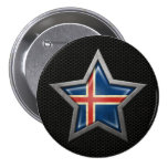 Icelandic Flag Star with Steel Mesh Effect 3 Inch Round Button