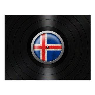 Icelandic Flag Vinyl Record Album Graphic Postcard