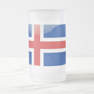 Icelandic glossy flag frosted glass beer mug