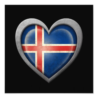Icelandic Heart Flag with Metal Effect Card