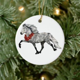 Icelandic Horse Christmas Ceramic Ornament