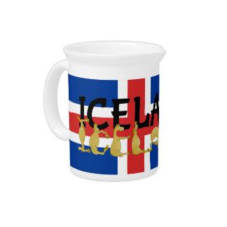 Icelandic Horse | Flag of Iceland Beverage Pitcher