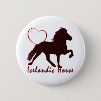 Icelandic Horse Hearts Button