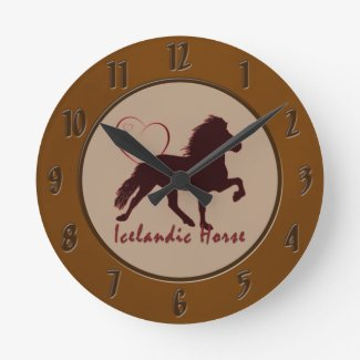 Icelandic Horse Hearts wall clock for Icey horse lovers