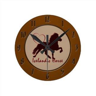 Icelandic Horse Hearts Round Wall Clocks