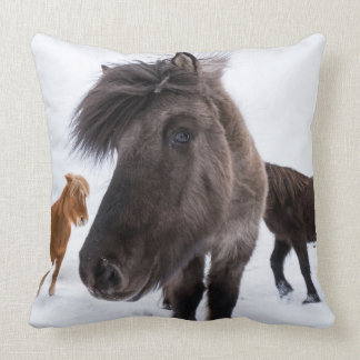 Icelandic Horse portrait, Iceland Throw Pillow
