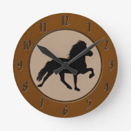 Icelandic Horse Round Wallclock