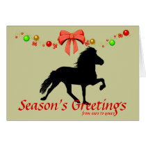 Icelandic Horse Silhouette Christmas Card